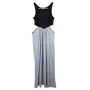 Urban outfitters sparkle + fade black and grey cutout maxi dress women's size sm